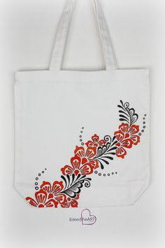 White Tote Bag with Black and Orange Floral Henna by ibleedheART