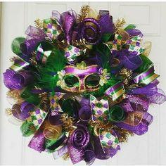Mardi Gras front door wreath. Add to your Mardi Gras decor