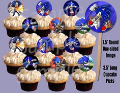 """Sonic the Hedgehog 1.5"""" Circle Image Cupcake Picks Cake Toppers - 12pcs on Etsy, $4.99"""