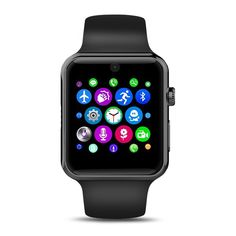 AGPtek Bluetooth Smart Watch with SIM Card Slot 2.5D ARC HD Screen Wearable Devices Smartphone Fitness Tracker for IOS iPhone/Android Samsung HTC Sony LG Smartphones - Black ** Check this awesome product by going to the link at the image.
