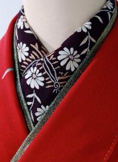 Japanese Embroidery Kimono ~ Living a Beautiful Life ~ Red kimono with Black flower collar - Japanese Outfits, Japanese Fashion, Asian Fashion, India Fashion, Japanese Textiles, Japanese Kimono, Modern Kimono, Yukata Kimono, Kimono Design