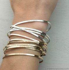 Personalized Cuff Bracelet Inspirational por LayeredAndLong en Etsy