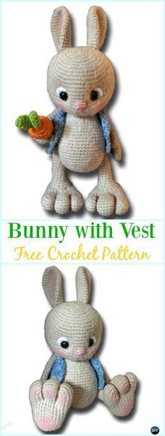 Amigurumi Crochet Bunny with Vest Free Pattern - #Crochet; Amigurumi #Bunny; Toy Softies Free Patterns