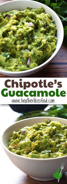 Chipotle Guacamole, Great Recipe, Pin Now!   http://heatherlikesfood.com