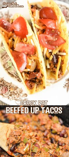 Take taco night to the next level with these Crock Pot Beefed Up Tacos! The beans and veggies in this recipe stretch your beef further while adding great flavor.