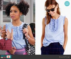 Zoey's blue ruffled top on Black-ish.  Outfit Details: https://wornontv.net/66571/ #Blackish