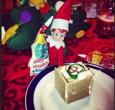 Elf On The Shelf- Building his own lil Gingerbread house!