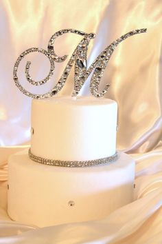 """5"""" Swarovski Crystal Monogram Cake Topper Mosaic Style ANY LETTER from the ALPHABET A B C D E F G H I J K L M N O P Q R S T U V W X Y Z on Etsy, $84.95"""