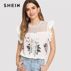 Blouses & Shirts Responsible New 2018 Lace Blouse Pearls Summer Sexy Women Top Mesh See Through Bow Bandage Flare Long Sleeve Elegant Famale Blouse Plus Size Jade White