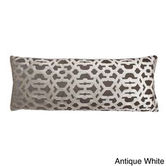 Bring an elegant look to room decor with this Damon scroll pillow with reverse solid velvet back and feather fill. The long pillow's thick-lined pattern smoothly scrolls over the surface.