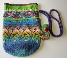 Risultati immagini per Sirkka Könönen Finland Knit Or Crochet, Crochet Crafts, Knitting Designs, Knitting Patterns, Knit Basket, Fair Isle Knitting, Fabric Bags, Knitted Bags, Handmade Bags