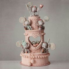 I am blown away by the cozy knitted texture of this cake from Kek Couture! I am blown away by the cozy knitted texture of this cake from Kek Couture! 😍 Which one of these adorable party elephan. Pretty Cakes, Cute Cakes, Fondant Cakes, Cupcake Cakes, Baby Elephant Cake, Baby Elephants, Cupcakes Decorados, American Cake, Baby Birthday Cakes