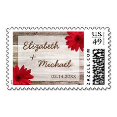 Red Daisy Rustic Barn Wood Wedding Postage Stamps