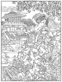 Japanese Coloring Book by Creative Coloring Make your world more colorful with free printable coloring pages from italks. Our free coloring pages for adults and kids. Free Adult Coloring, Adult Coloring Book Pages, Cute Coloring Pages, Coloring Sheets, Coloring Books, Japon Illustration, Printable Coloring, Scrapbook, Colorful Pictures