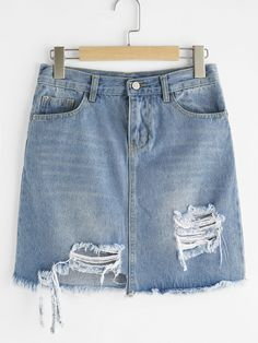 Gonna di jeans con fondo strappato e sfrangiato