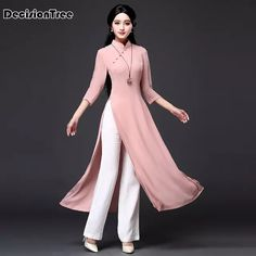 Quality 2020 Vietnam Ao dai qipao Traditional Chinese Dress Qipao Cheongsam Dresses Cotton Linen Robe Chinoise Aodai 2 Pieces Suit with free worldwide shipping on AliExpress Mobile Party Wear Dresses, Casual Dresses, Fashion Dresses, Pink Dress Outfits, Girl Outfits, Summer Outfits, Ao Dai, Muslim Fashion, Indian Fashion