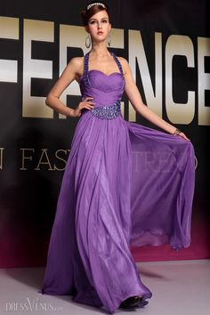 Attractive Beads Floor-length Backless Prom Evening Dress
