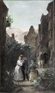 Carl Spitzweg ~ Het afscheid ~ 1855 ~ Olieverf op doek ~ Sammlung Schack, Bayerische Staatsgemäldesammlungen, München