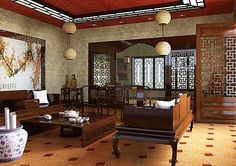 oriental interior decorating ideas and wood furniture for living room