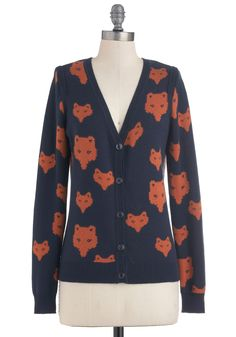 ha! kitsune cardigan!  Keen Up Your Act Cardigan - Blue, Red, Buttons, Knitted, Casual, Long Sleeve