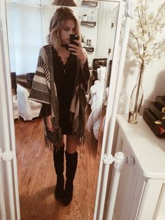 OOTD // Free People lace dress and slip, American Threads kimono, Dsw high boots, layered Brandy necklaces xx