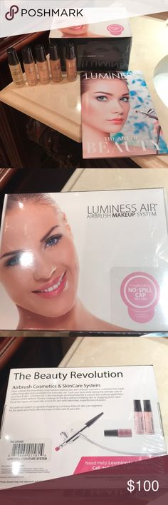 Luminess Airbrush Professional Kit New in sealed box. Luminess Airbrush professional starter Kit..includes DVD instructional guide..5 shades of foundation..bronzer..eyeshadow..blush luminess Makeup Brushes & Tools