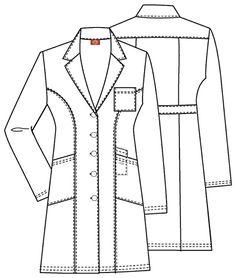 Dickies Everyday Scrubs 82401 Junior's Women's Lab Coat Coat Pattern Sewing, Jacket Pattern, Pattern Drafting, Doctor White Coat, White Lab Coat, Hotel Uniform, Medical Office Design, Scrubs Uniform, Scrub Jackets