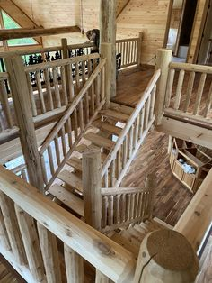 Milled log staircase with half log treds