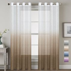 H.VERSAILTEX Living Room Sheer Curtains Home Decorative Linen Blended Ombre Window Treatment Energy Saving Nickel Grommet Curtain Panels for Bedroom/Living Room (Set of 2, Taupe, 52x84 - Inch) #H.VERSAILTEX #Living #Room #Sheer #Curtains #Home #Decorative #Linen #Blended #Ombre #Window #Treatment #Energy #Saving #Nickel #Grommet #Curtain #Panels #Bedroom/Living #(Set #Taupe, #Inch)