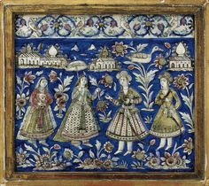 کاشی قرن 19 میلادی A POLYCHROME TILE, PERSIA, 19TH CENTURY moulded with a courting couple standing in a landscape of flowers and leafy plants, both with figures in attendance, with buildings in the distance and a duck perched in a tree, in a wooden frame 36.3 by 32cm. 42.2 by 38cm. framed