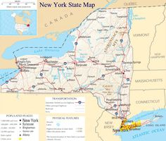 map of New York Stae | Also See: New York City Map (quite a large map) New York State County ...
