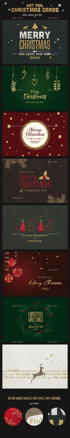 Set of Flat Line Design 2018 Christmas Greeting Cards Greeting - line card template