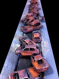 Cars, Civilian, Necromunda, Road, Terrain, Work In Progress, Wreck