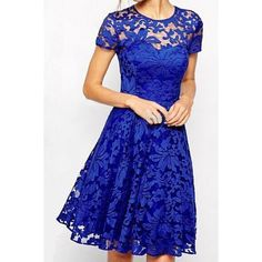 Short Sleeve Solid Color Lace Women's Dress