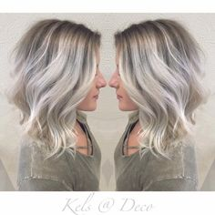 Trendy Hair Highlights : Icy blonde balayage with ashy roots! scorpioscowl.tumb