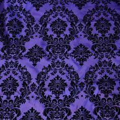 Flocked Purple Taffeta with Black Damask