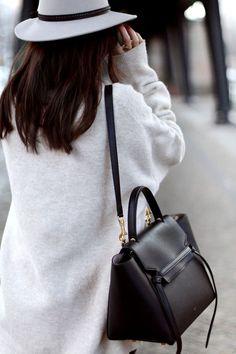 Bag and oversized coat