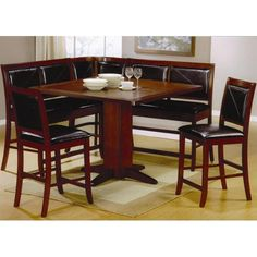 Coaster Lancaster Counter Height Pedestal Table - Coaster Fine Furniture **don't really like the color but like the corner bench seat