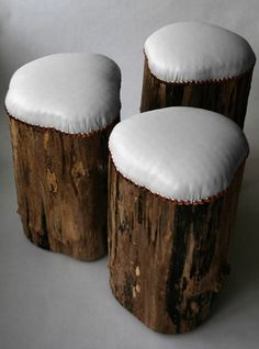 Wooden cushioned Stumps. i HAVE VINYLE
