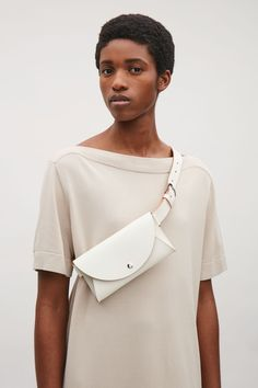 COS image 4 of Belted pocket bag in White Leather Bag Pattern, Leather Belt Bag, Leather Keychain, Womens Fashion Australia, Diy Handbag, Older Women Fashion, Hip Bag, Girls Bags, Cloth Bags