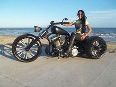 Biker babe on a badass trike.