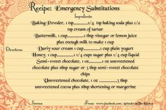 Recipe  emergency solutions