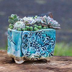 Blue Glazed Succulent Pot, Succulent-Pottery, Handmade, Succulent Gift, Succulent Garden, Garden Decor, Hand Made, Planters