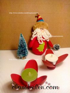 Portavelas decorativas con cucharas de plástico para la mesa de Navidad - Inspiraciones: manualidades y reciclaje