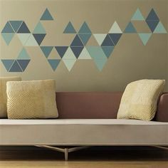 geometric triangles wall sticker from the binary box Geometric triangle wall sticker Wall Stickers Geometric, Geometric Wall Paint, Wall Stickers Gold, Diy Wand, Triangle Wall, Kids Wall Decals, Cool Walls, Bedroom Wall, Wall Design