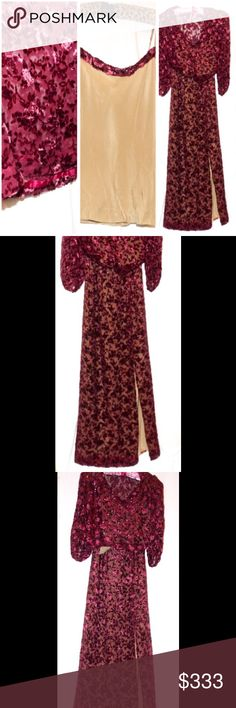 OMG Vintage Designer Boho Costume Goth Gypsy 3 pc Legendary Costume Designers Bradford Wood & Gregory A Poplyk Costume Design & Construction 3 piece ultra glamorous costume from theater production of unknown show! If anyone knows which production this is from, please chime in. This goes beyond glorious, and the fabric is amazing. Fluttery buttery cranberry shimmering velvet burnout with metallic glittering floral pattern. ALL INFO IN COMMENTS. please compare measurements to your own. This is…
