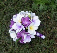 Purple Frangipani Plumeria Bride Posy Bouquet by Abloomortwo, $110.00