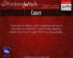 """The Thinking Witch"" Cancer Astrology Fact for Tuesday July 16th"
