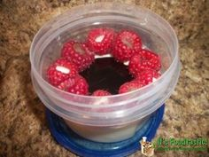 Vanilla Ice Cream Cups with Chocolate Stuffed Raspberries, perfect to bring to school or work!