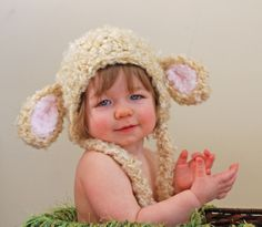 Fuzzy lamb earflap hat in cream - Easter Hat / photo prop. $24.00, via Etsy.